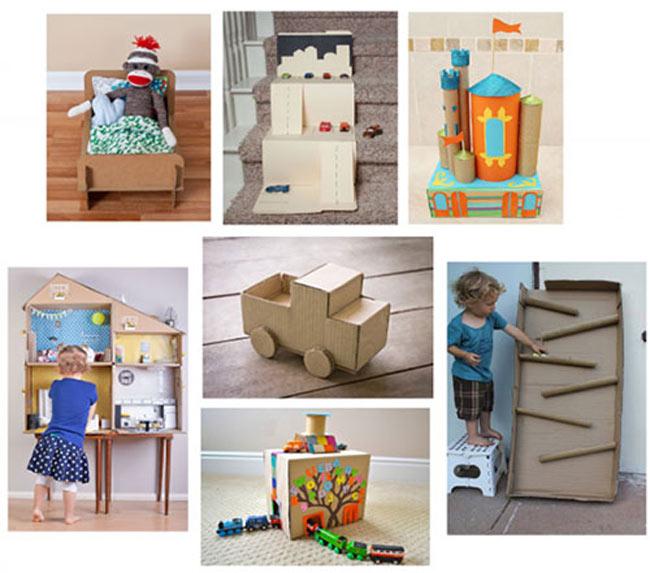 Làm đồ chơi cho bé từ tái chế từ thùng carton